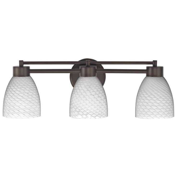 Modern Bathroom Light with White Glass in Bronze Finish at Destination Lighting