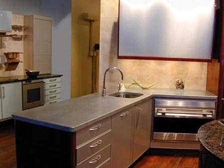 Matte finish zinc countertop eased square edge seen here for Zinc kitchen countertop