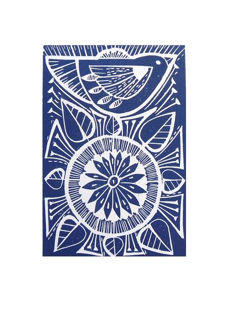 Blue Folk Bird and Flower Lino prints by Mangle Prints, via Flickr