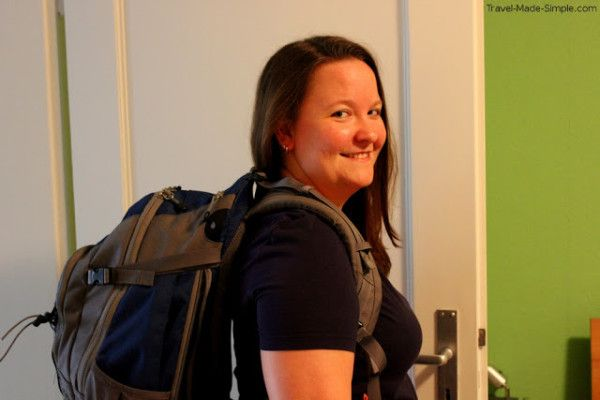Ali with her 40L backpack - How did I downsize my luggage to a 40L REI Lookout?