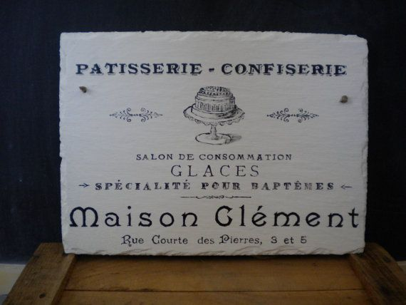 Vintage Kitchen Sign / Painted Barn Slate Sign / French Dessert Vintage Kitchen  Sign / Vintage Farmhouse Kitchen Decor Sign