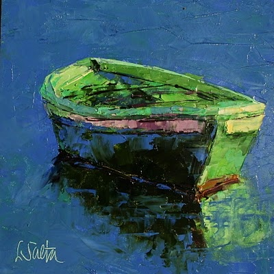 Still Waters - palette knife painting by Leslie Saeta
