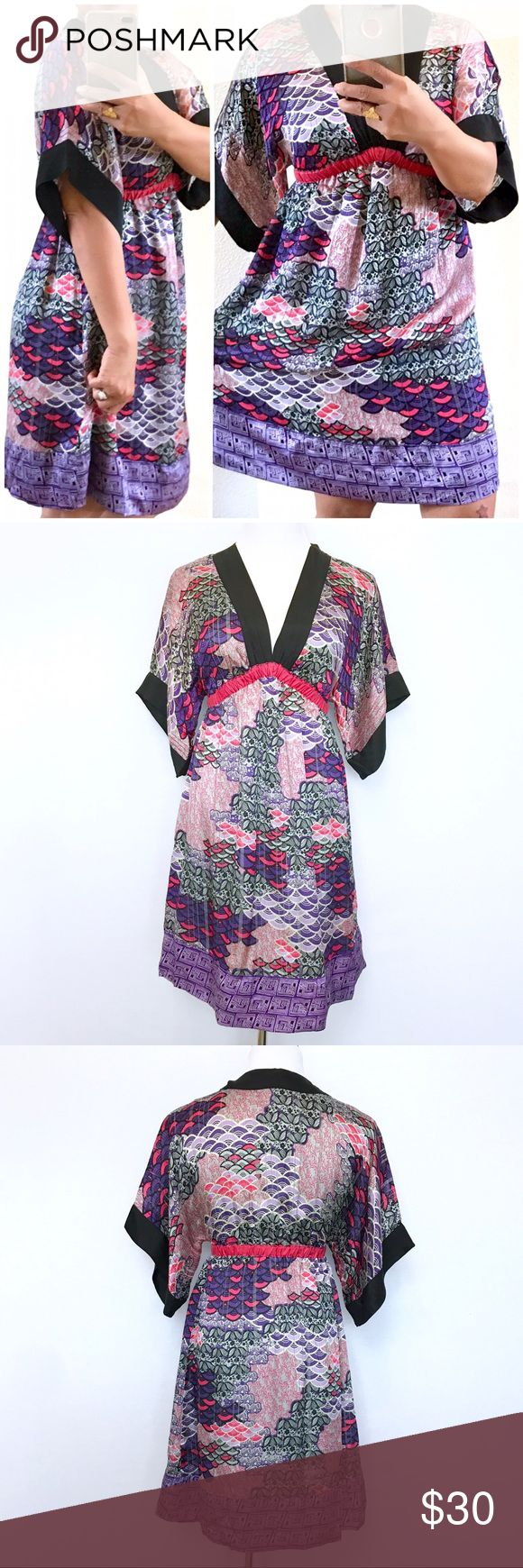 "Mango Collection Kimono Silk Dress Never been worn. Still in great condition. Elastic waist. Size 4. Size S. Lay Flat Measurement; waist 12"". Length Approx-35"". Lined. Sleeve from pit to hem-7.5"". No Trades. No low ball offers Mango Dresses Mini"