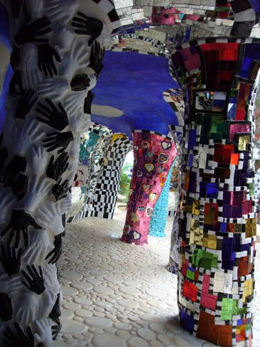 "Interior of ""The Emperor,"" one of several large statues by French artist Niki de Saint de Phalle in the Tarot Garden near Capalbio, Italy."