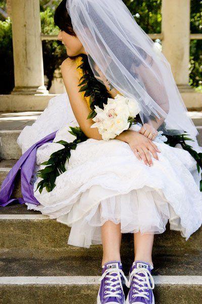 All Stars for the Bride :  wedding sneakers reception Purple Converse Bride