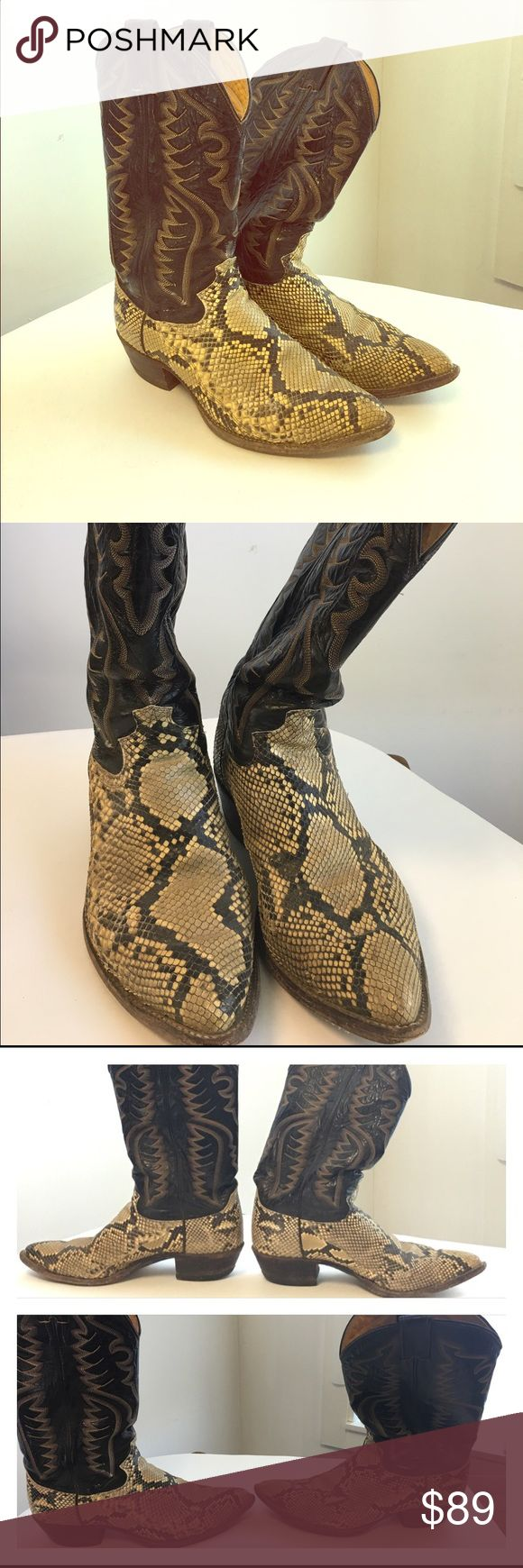 Snakeskin Cowboy boots Vintage Justin snake skin A great pair of worn in men's snakeskin cowboy boots! These are men's size 9.5 D which translates to roughly a women's size 11. These have been worn a lot and show many signs of use, but they still have lots of life left! Please review photos and use them as part of the description as not every flaw can be noted. ❌NO TRADES❌ Justin Boots Shoes Heeled Boots
