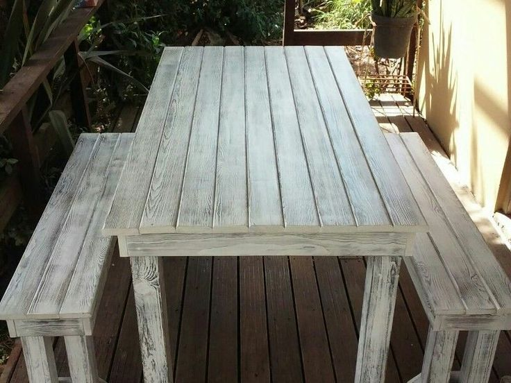 6 Seater Table & Benches (White Rustic look) (Made by: Shane Ikin)