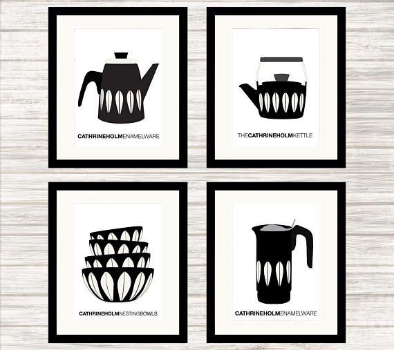 Cathrineholm Enamelware Poster Set in black  Wall Art Print