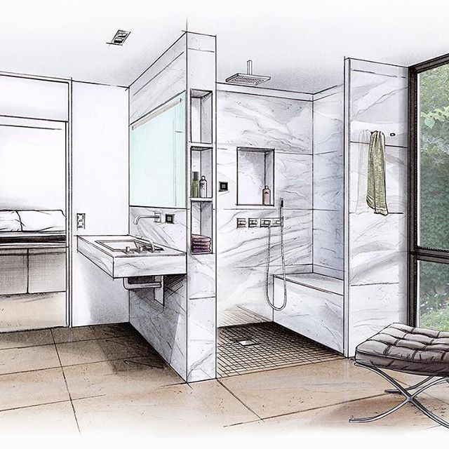 bathdesign with wedi building panels bathroom bathroomdesign ceramics copicmarkers dornbracht interior sketchbath
