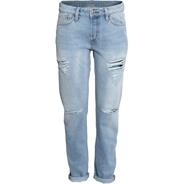 H&M Boyfriend Low Jeans ($23) ❤ liked on Polyvore featuring jeans, pants, bottoms, trousers, light denim blue, h&m jeans, h&m, h&m boyfriend jeans, 5 pocket jeans and boyfriend fit jeans