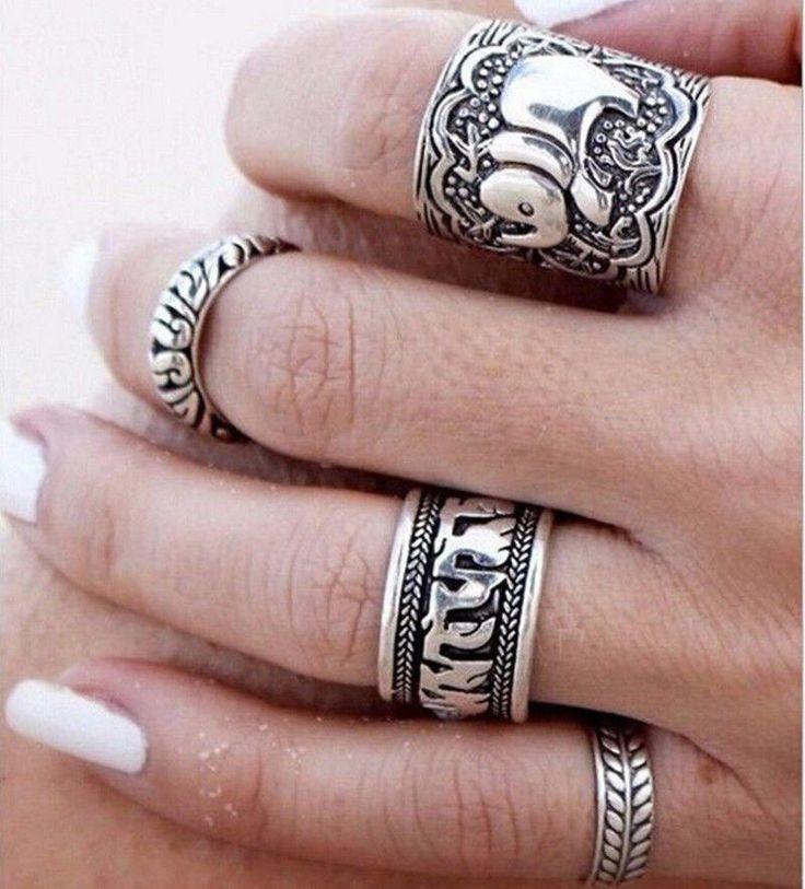 4 Boho Rings set vintage rings bohemian ring Elephant ring Leaf Lucky rings Boho set Tibetan Silver Ring boho jewelry Hippie Ring gypsies di SoulJewelryOliH su Etsy