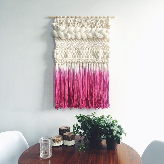 Woven Wall Hanging | Pink Dip-dyed Weaving  – Family room