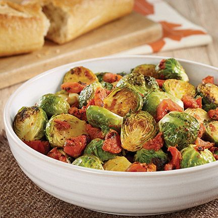 Roasted Brussels Sprouts with Tomatoes Recipe. Diabetic Friendly, low carb recipe from Diabetic Gourmet Magazine. DiabeticGourmet.com