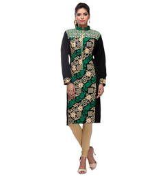Buy black, white and green acrylic wool blend embroidered kurti kurtas-and-kurti online