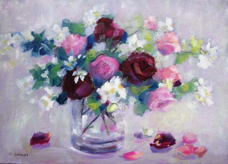 bouquet de roses et de seringats huile sur toile 70*50 cm