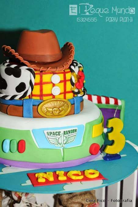 Woody and Buzz cake at a Toy Story birthday party!  See more party planning ideas at CatchMyParty.com!: