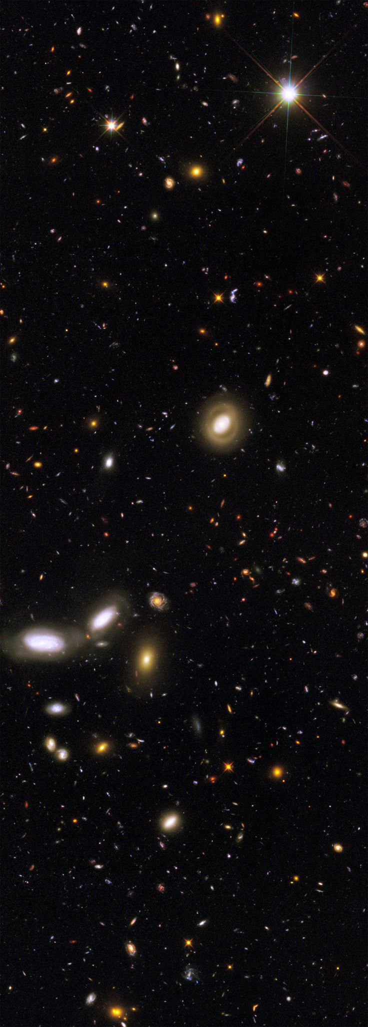 """""""This Hubble image is one of several, including the Ultra Deep Field, which peer into seemingly empty space, leaving the camera shutter open for hours, and reveal that billions of galaxies made up of billions of stars fill our skies in every direction as far as we can possibly see, separated by almost unimaginable distance and time, yet still reachable, visible as an image of their long-ago selves."""""""