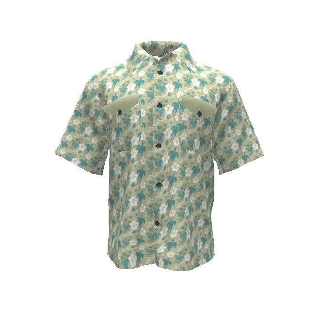 Colette Patterns Negroni Shirt made with Spoonflower designs on Sprout Patterns. Hawaiian-island-style shirt featuring hibiscus and turtles. Other colorways available.
