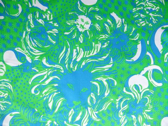 """Lilly Pulitzer Roar Of The Jungle Cotton Dobby Fabric FQ 18x18"""" Free Ship on Etsy, $11.00"""