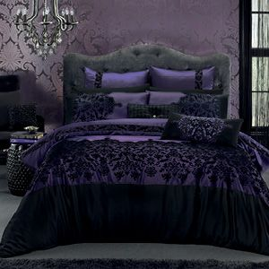 Samara makes an elegant and sophisticated bedroom statement with exotic, flocked and printed faux lace panels and a beautifully embroidered cushion cover. The quilt cover has button closure.