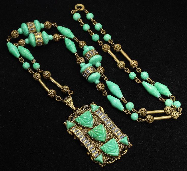 MAX NEIGER BROS Czech Art Deco Ornate Egyptian Enamel Peking Glass Bead Necklace #Neiger