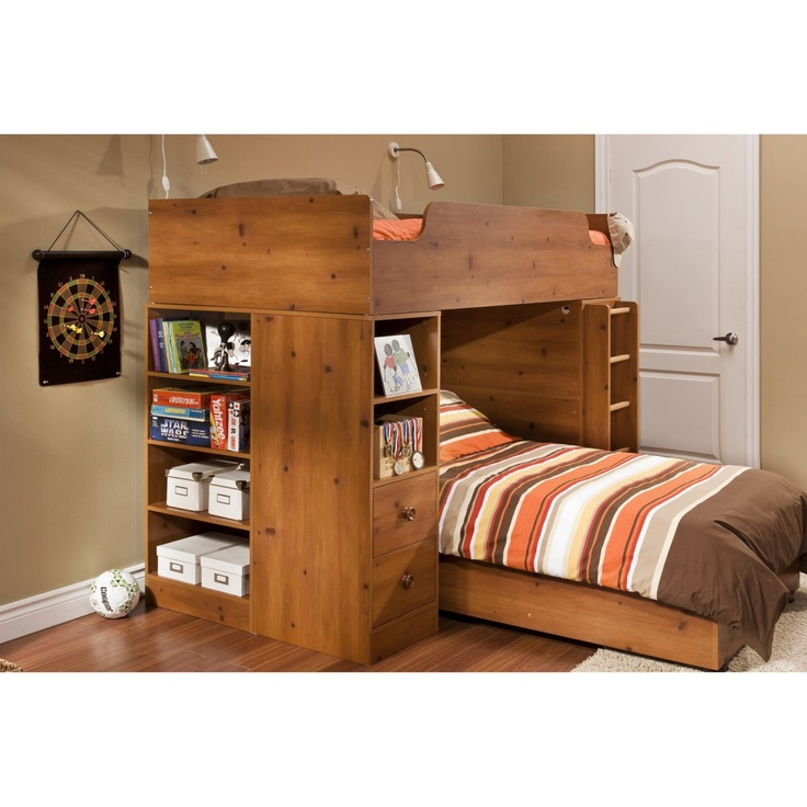 South Shore Logik Sunny Pine Twin Loft Bed - Loft Beds at Simply Bunk Beds