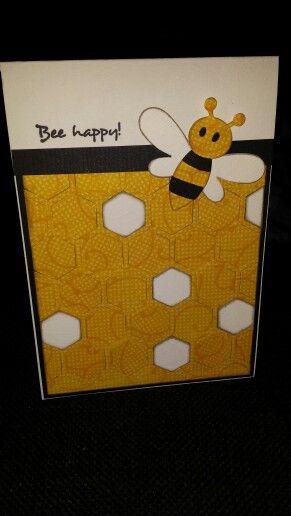 #Hexagon card #Bee happy