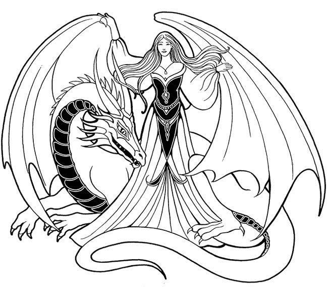 Coloring Pages Dragons And Fairies | Coloring Pages