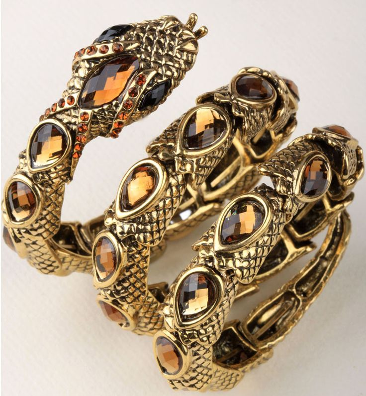 Stretch snake bracelet armlet upper arm cuff for women punk rock crystal bangle jewelry antique gold & silver plated A32 www.bernysjewels.com #bernysjewels #jewels #jewelry #nice #bags