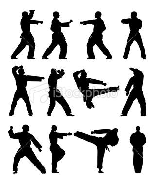 Taekwondo Silhouettes Royalty Free Stock Vector Art Illustration