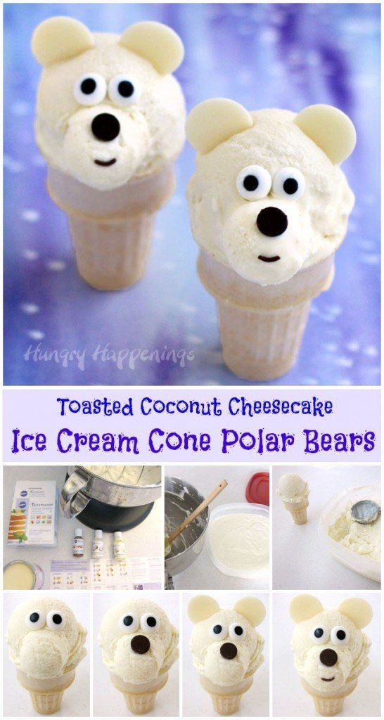 Learn how easy it is to make homemade Toasted Coconut Cheesecake Ice Cream and use it to create these cute Ice Cream Cone Polar Bears. Recipe and instructions at HungryHappenings.com.