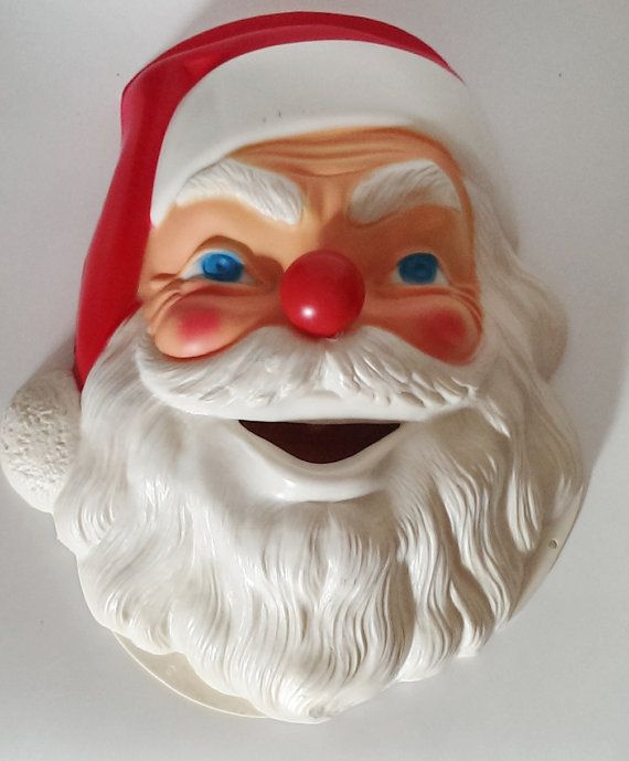 Kitschy 1960s Large 13 Tall Santa Claus Head  White by CZamore, $32.00