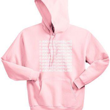 Unisex 1-800 Hotline Bling Drake light pink Sweatshirt Hoodies women autumn Hooded pink colours