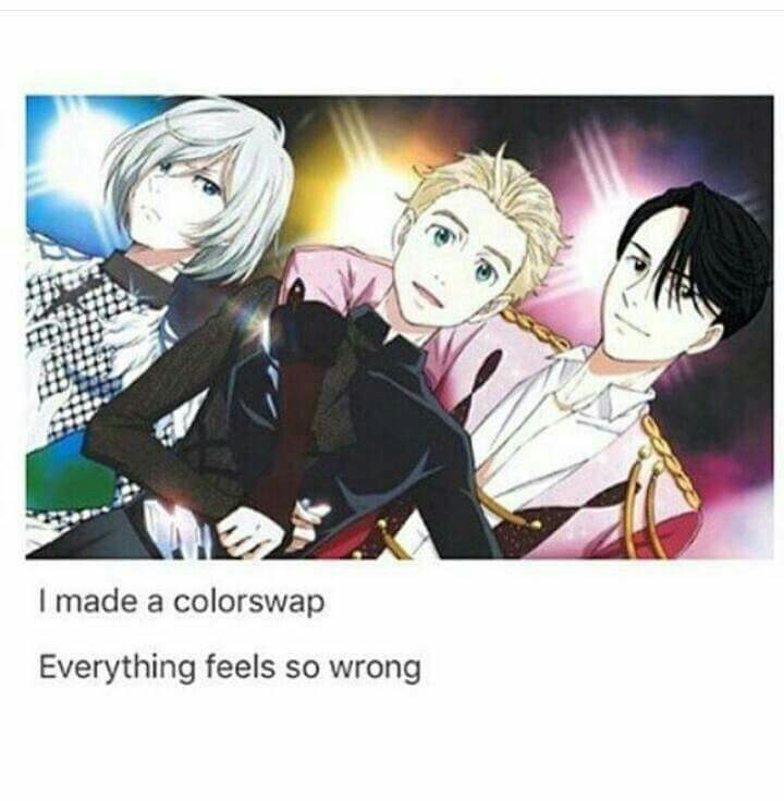Wow, this colour swap seems so wrong o_O Yuri!!! on Ice
