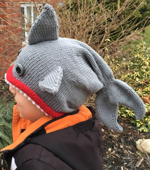Free Knitting Pattern for Shark / Fish Hat - These shark hats are modifications of the Fish Hat Dead or Alive knitting pattern. Pictured project by DJdee