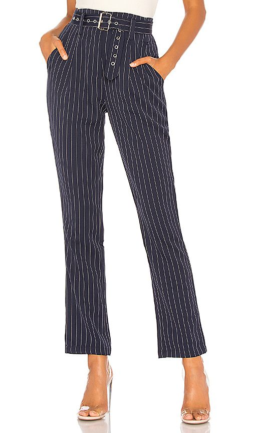 By The Way Sami Belted Trousers In Navy Pinstripe Revolve Fits