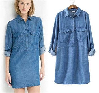 Ladies Denim Shirt Dress Plus Size Casual Shift Dress