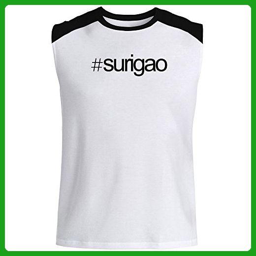 Idakoos - Hashtag Surigao - Cities - Raglan Sleeveless T-Shirt - Cities countries flags shirts (*Amazon Partner-Link)
