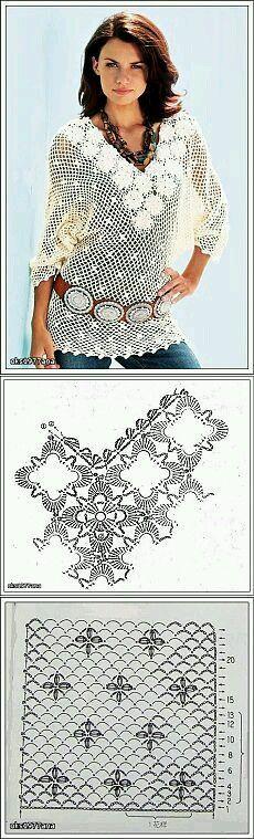 Mi baúl de Inspiraciones : Blusas en crochet con diagramas :)