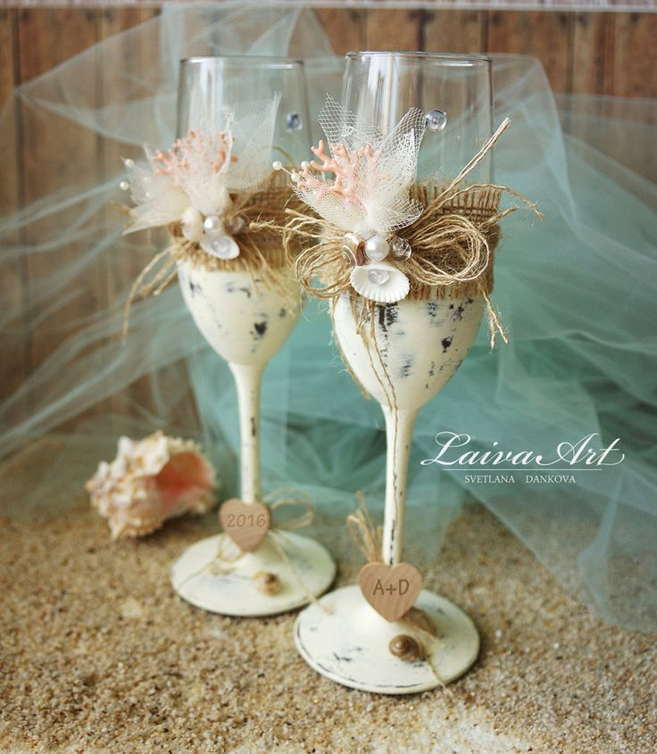 Beach Wedding Champagne Flutes Wedding Champagne Glasses Wedding Toasting Flutes - pinned by pin4etsy.com