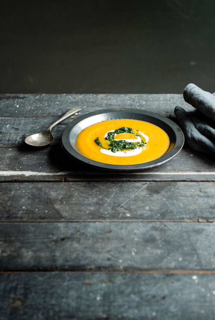 Roasted Pumpkin and Kumara (Sweet Potato) Soup with Coriander Pesto