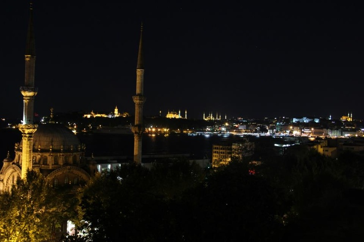 Golden Horn and monuments of the city by night. Cihangir Park, Beyoglu, Istanbul.
