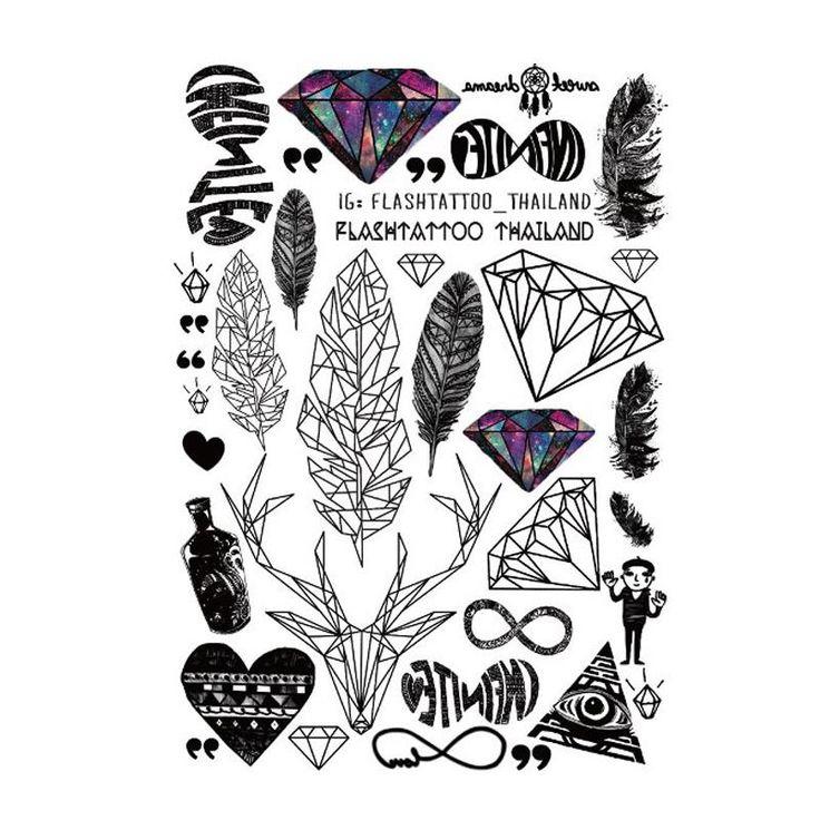 성격 방수 임시 문신 큰 바디 아트 다이아몬드 그림 사슴 깃털 시계 문신 스티커 도매