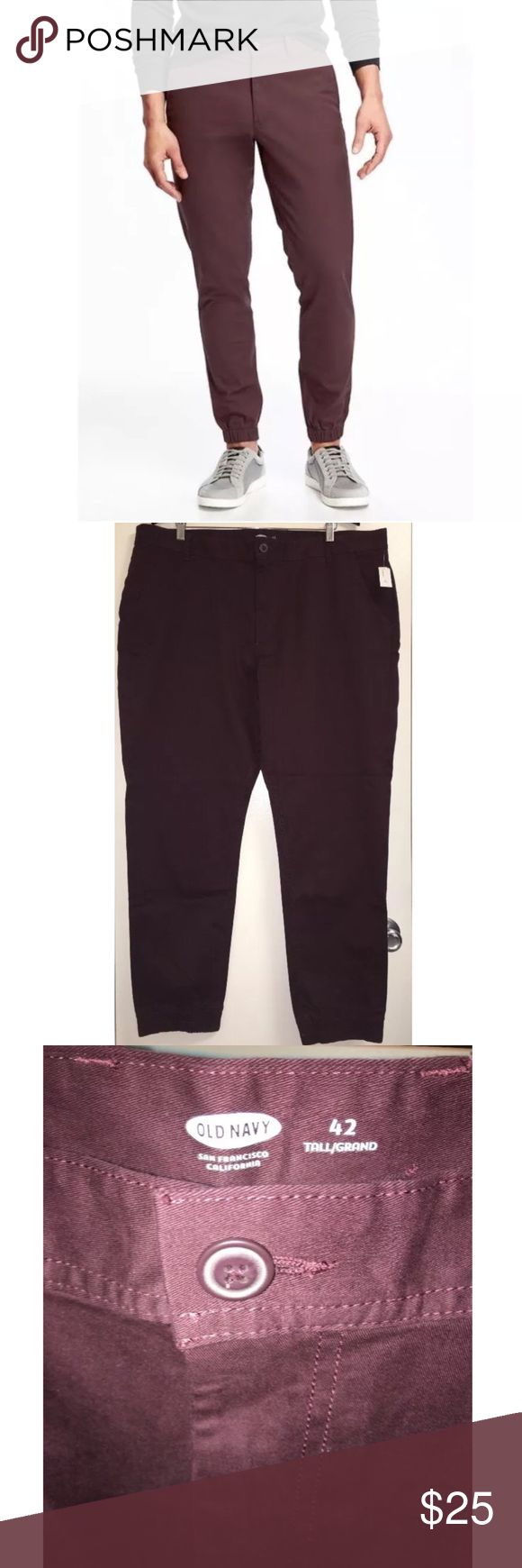 """Old Navy Khaki Stretch Maroon Jogger Pants 42 Tall This listing is for a pair of men'sOld Navy khaki jogger pants.  They are brand new with tags attached.  The inseam is 31.5"""" long.   Measuring across the waist is 21.75"""".  Measuring across the hips is 26.5"""".  If you have anyquestions, pleasecontact me! Old Navy Pants Chinos & Khakis"""