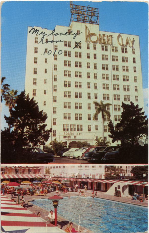 Postcard Of Two Views Of The Robert Clay Hotel In Miami