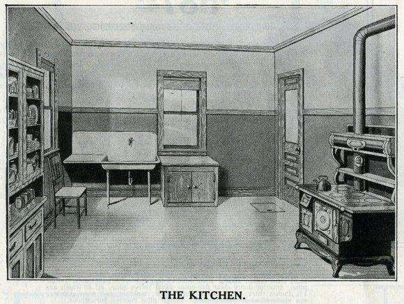 Early Bungalow Kitchen with a wood burning stove and huge farmhouse sink.