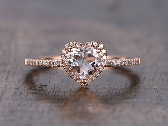 Ring Information----   Main Stone : * Natural VS Pink Morganite * 6mm Heart Shaped Cut * Approx. gemstone weight:0.6 carats  Side Stone: * Round Cut Natural SI/H Diamonds * Total diamond weight: 0.16ct  Metal: * Solid 14K rose gold Ring can be resized from 3-10,metal can be made in 14 & 18k white/yellow/rose gold. The gemstone can be replaced with amethyst,aquamarine,citrine,topaz,tourmaline,peridot,garnet,ememald,sapphire,ruby,tsavorite,tanzanite,etc,contact me if you need this service…