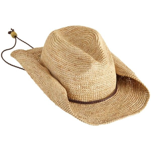 San Diego Women's Crocheted Raffia Cowboy Hat ($30) ❤ liked on Polyvore featuring accessories, hats, crochet cowboy hat, raffia hat, cowboy hats, brown cowgirl hat and cowgirl hats