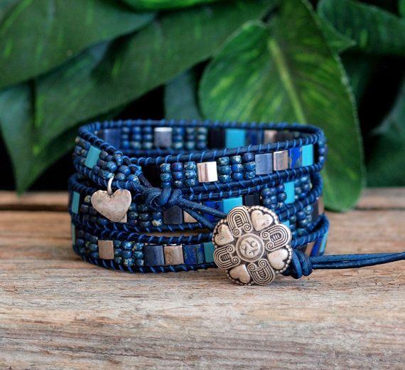Azul pulsera de abrigo de cuero de grano de Tila, con cuentas Wrap Pulsera, pulsera de cuero con cuentas de abrigo, plata azul con cuentas Wrap, pulsera abrigo moderno del azulejo