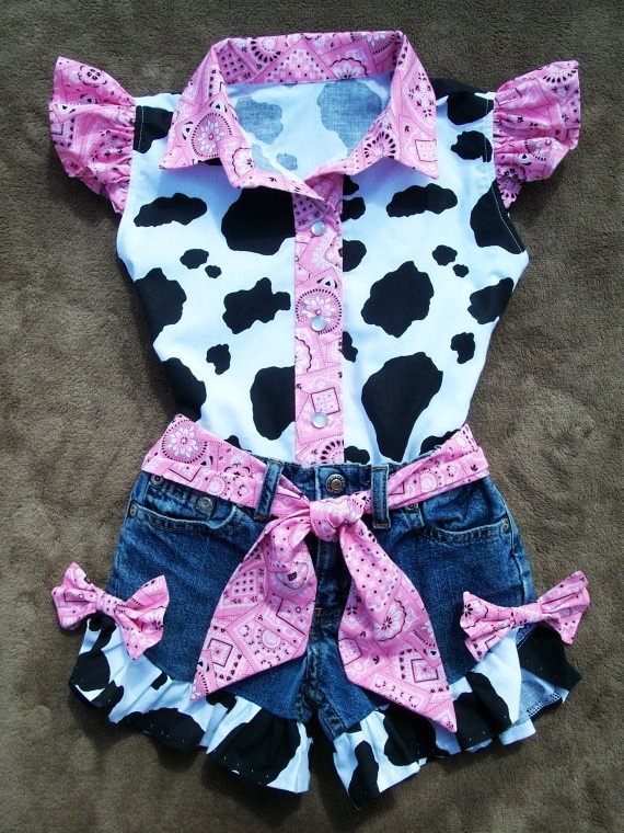 Beautiful PINK BANDANA upcycled cowgirl shorts outfit with custom made matching blouse. - LoveItSoMuch.com